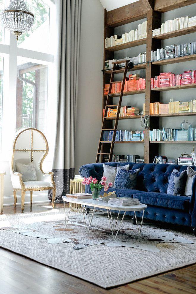 Bookcase Around Fireplace Navy Blue Sofa #einrichtung