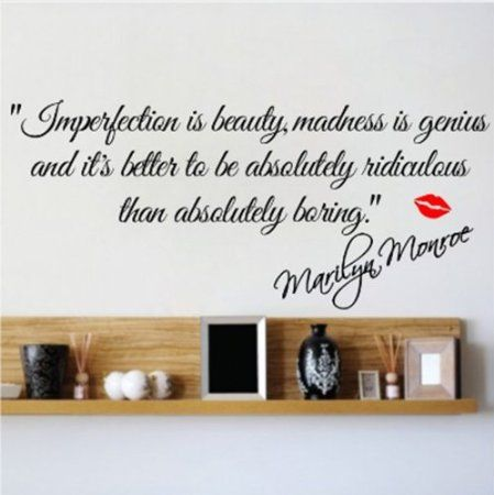 Amazon.com: M IMPERFECTION IS BEAUTY MARILYN MONROE WALL STICKER QUOTE  DECAL ART