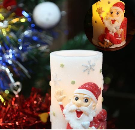 flameless candles with timer battery operated candles with santa claus design - Christmas Decorations Battery Operated Candles
