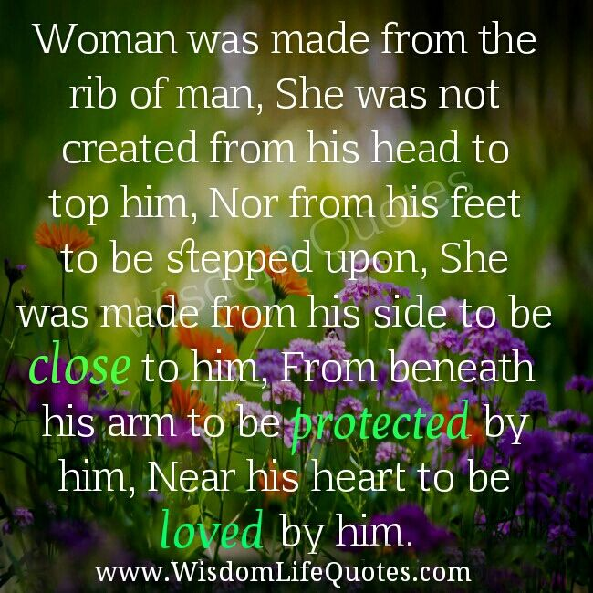 Respect Quotes For Husband And Wife: Woman Was Made From The Rib Of Man