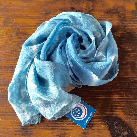Aizome Indigo Shibori  Silk scarf/Hair band (Asagi blue) [SC-3]