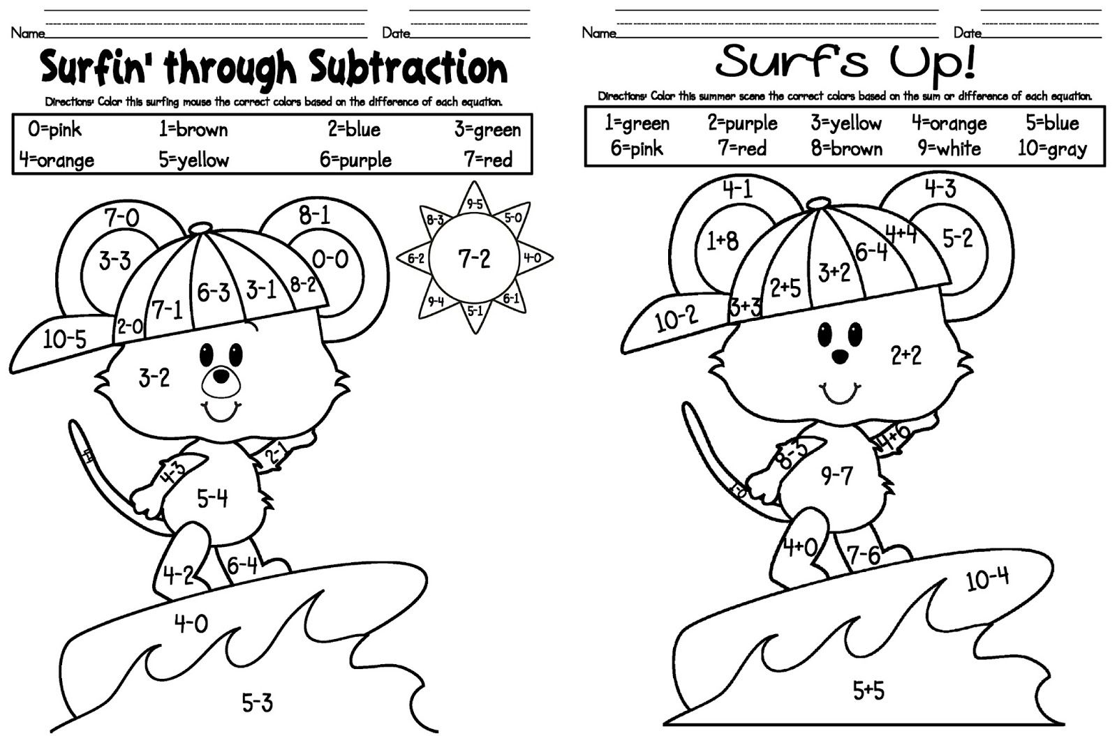 Worksheets Coloring Subtraction Worksheets math freebie subtraction andor mixed addition and with a fun summer surfer theme