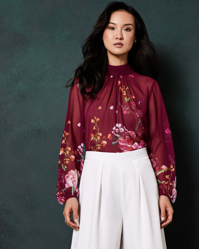 best loved buy cheap 50% off Serenity high neck blouse - Maroon | Tops And Tees | Ted ...