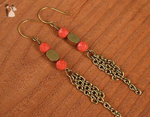 Vintage Brass Chain Drop Earrings - Wedding earings (*Amazon Partner-Link)