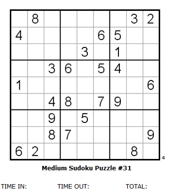 image regarding Medium Sudoku Printable titled Medium Sudoku Puzzle #31 ( look at Sudoku Puzzle products and services for