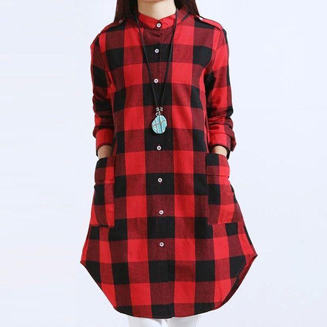 27440f1a682 Online Shop Women Tops Plus Size M~3XL Women Clothing Plaid Blouse Long  Sleeve Women Blouses Cotton Linen Women Shirts Casual Vintage tops