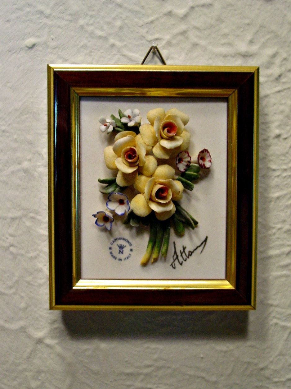 Vintage Capodimonte Floral - Wall Plaque - Yellow Roses ...