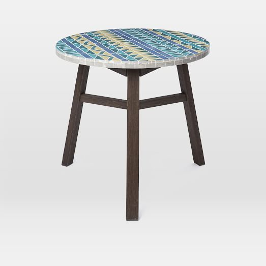 Mosaic Tiled Bistro Table Multi Triangle