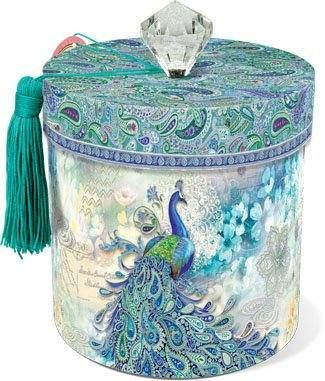 Decorative Altered Metal Canister Decoupaged Painted and Decorated Peacock
