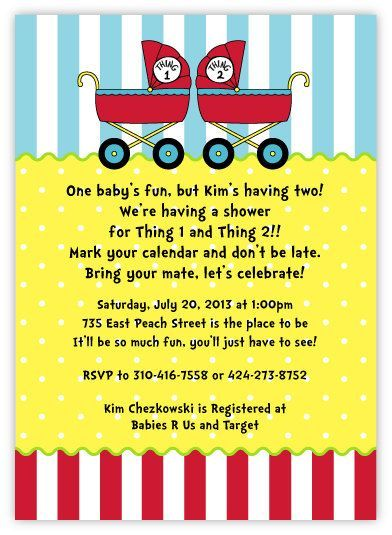 Dr seuss baby shower invitations for twins dr seuss thing 1 seuss thing 1 thing 2 baby prams personalized twins baby shower invitations for boy girl twins twin girls and twin boys filmwisefo Image collections