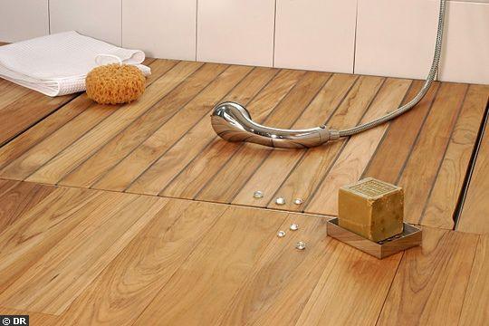 Salle de bain italienne mosaïque, teck ou galet Italian Shower - teck salle de bain sol