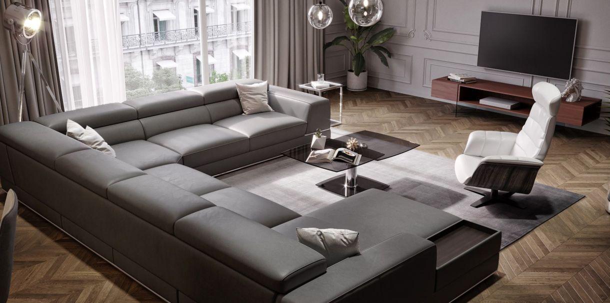 Soft Stylish Bergamo Elephant Gray Sectional Leather Sofa
