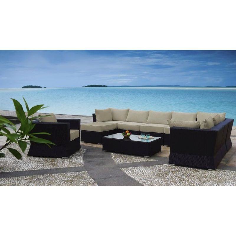 Oasis 4 Seater Garden Lounging Table And Chairs Set: Oasis Outdoor 9 Seat Modular Lounge Set In Coffee