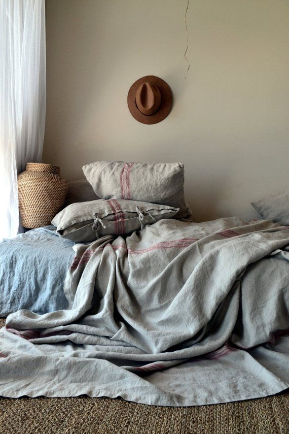 Vintage Grainsack Heavy Linen Coverlet ⎮bed Cover⎮quilt