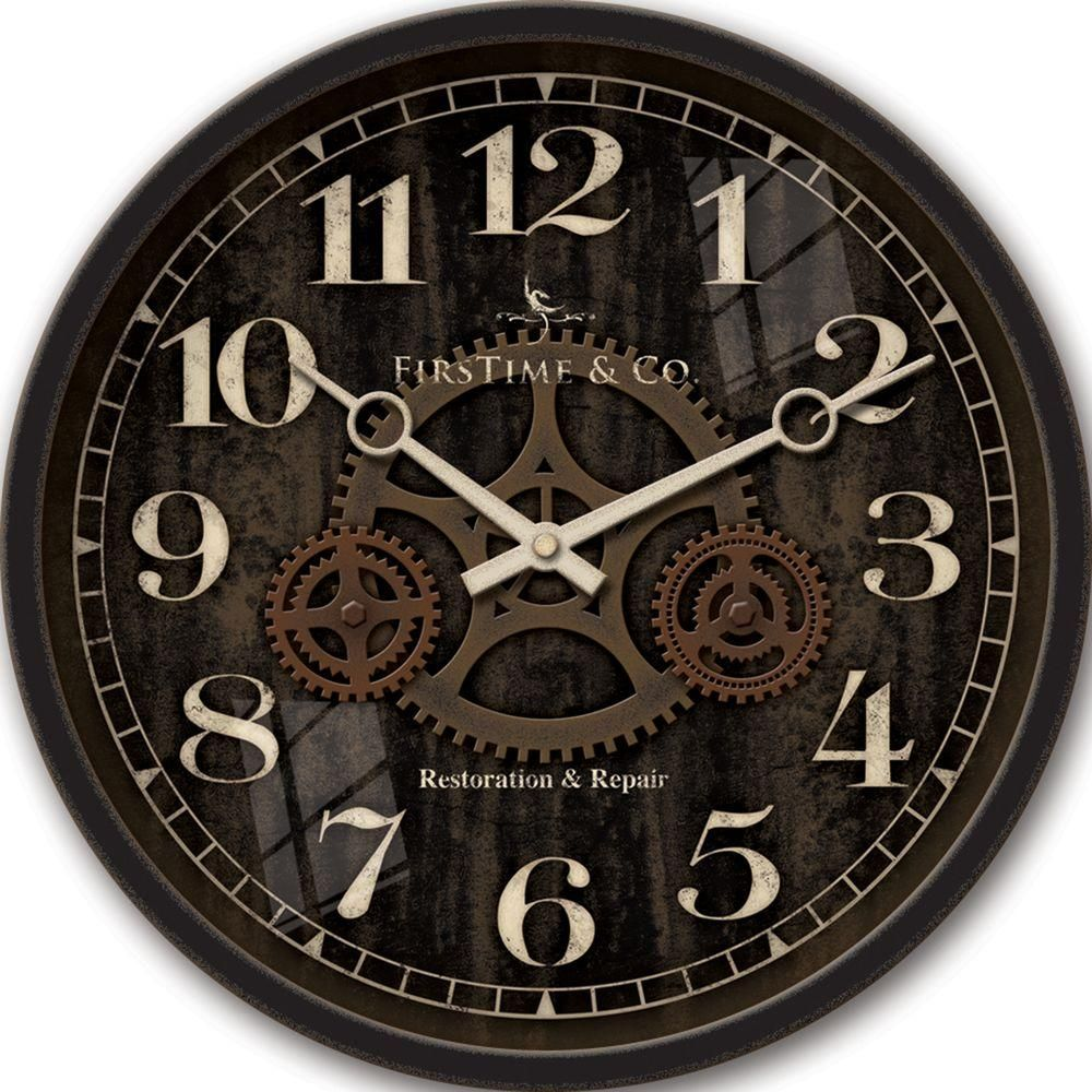 12 in Round Industrial Gears Wall Clock Black Wall clocks