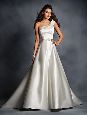 Alfred Angelo Style 2510: One shouldered satin wedding dress accented by a modern double bias pleat detail at the neckline