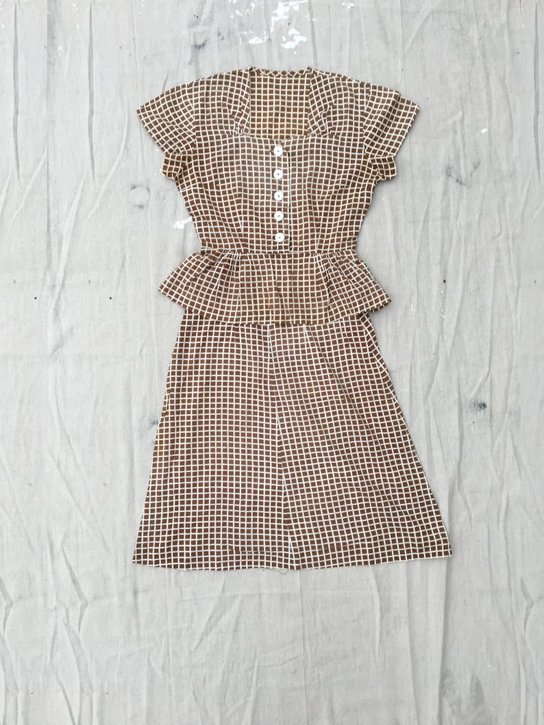 Charming Warm Weather Vintage Inspired Frocks Featuring: 1940s Vintage Cotton Feedsack Coordinated Set Brown And