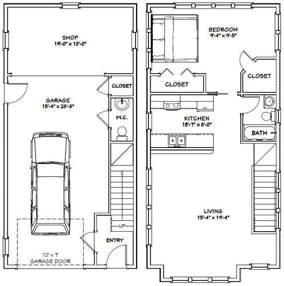 20x40 House 1 Bedroom 1 5 Bath 1 077 sq ft PDF Floor Plan Instant Download Model 8D