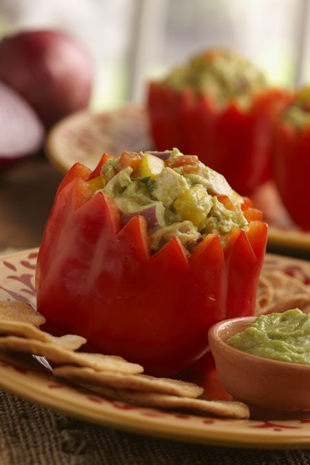 great chicken salad for crackers, lettus wraps, etc.  use guac instead of mayo for this yummy twist!!  homegating hit!!