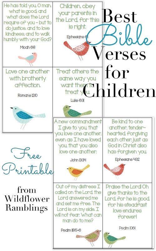 10 Best Bible Verses for Children {free printable | Wildflowers ...