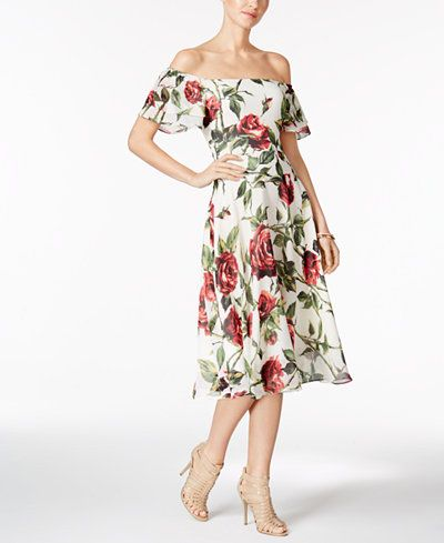 Betsey Johnson Printed Off-The-Shoulder Midi Dress | Clothes ...