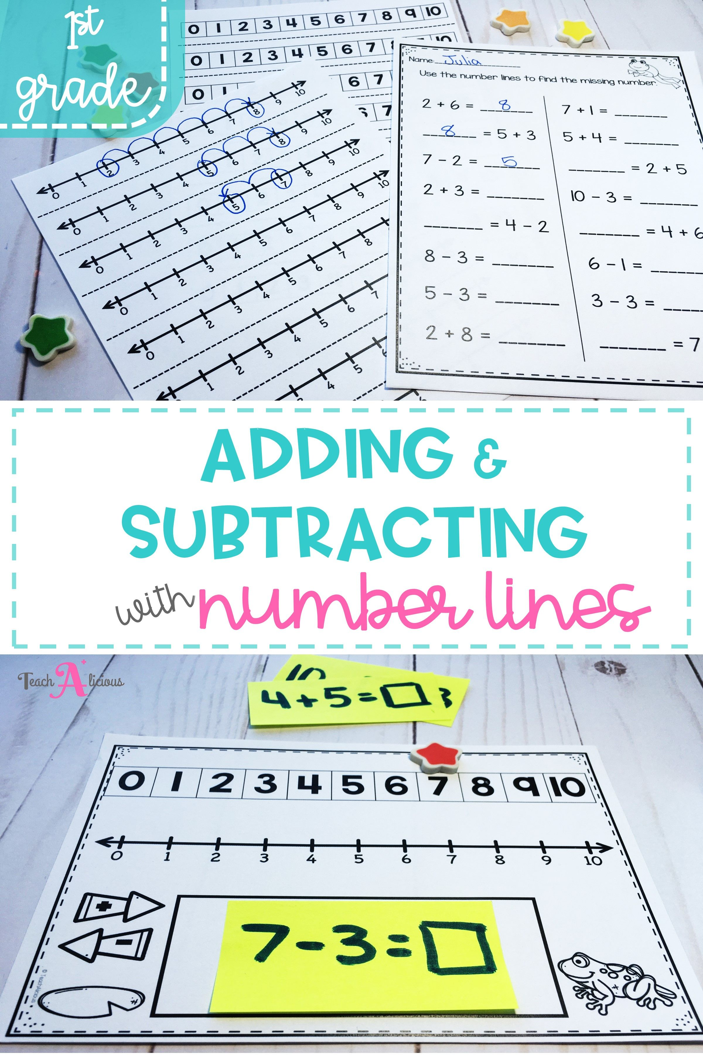 Adding Subtracting With Number Lines Kindergarten Resources Addition And Subtraction Dual Language Classroom Adding and subtracting using number