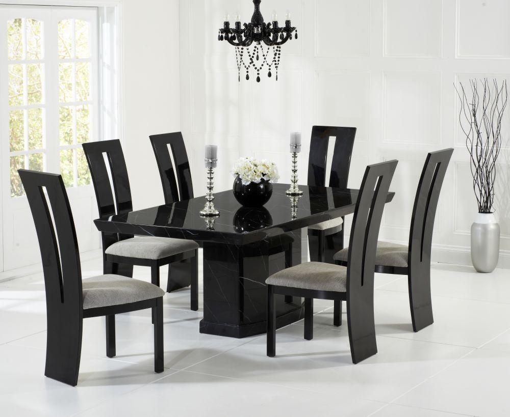 Mark Harris Como Black Marble Dining Set 6 Valencie Brown Chairs
