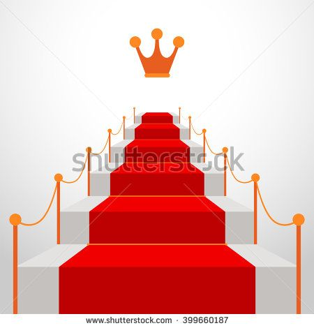 Stairs With Red Carpet Leading To Top With Golden Crown Ahead The
