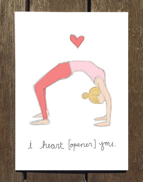 8 Pack Yoga Inspired Valentine S Day Cards By Marycatherinestarr