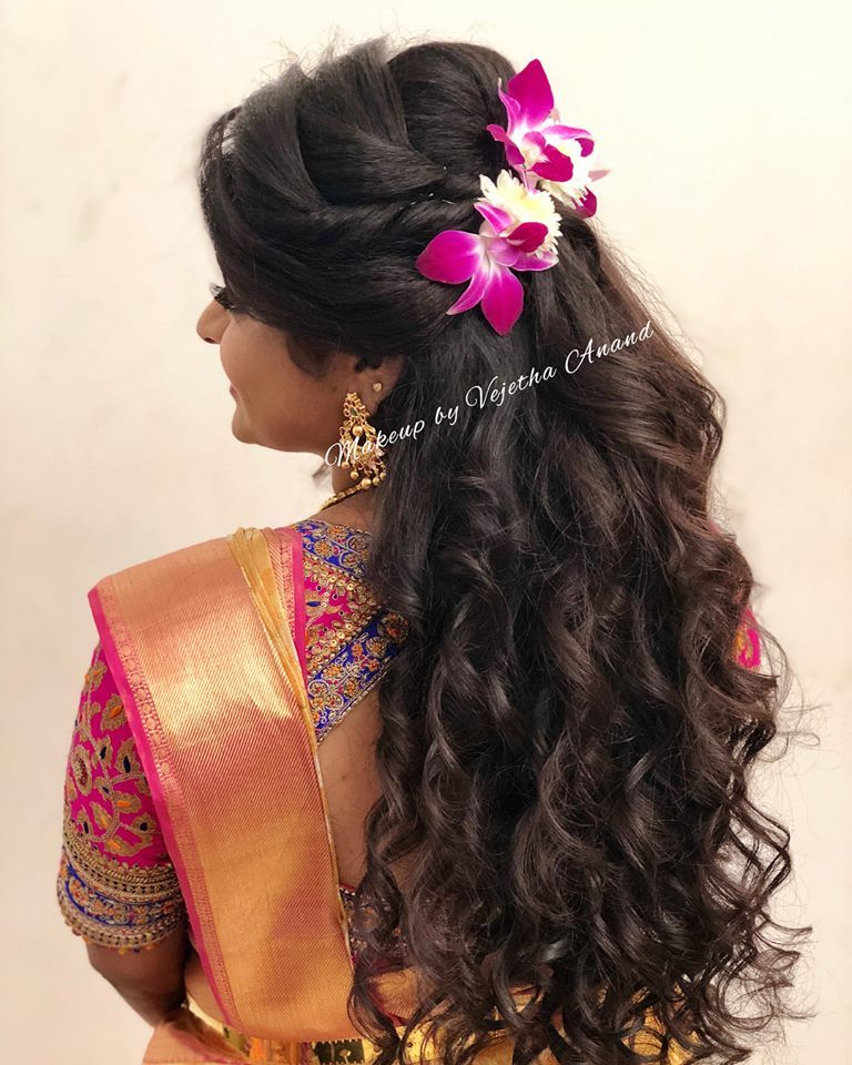 Gorgeous Bridal Hairstyle By Mua Vejetha For Swank Bridal Hair With Curls And Orchids Bridal Silk Saree B Indian Bridal Hairstyles Hair Styles Bridal Hairdo