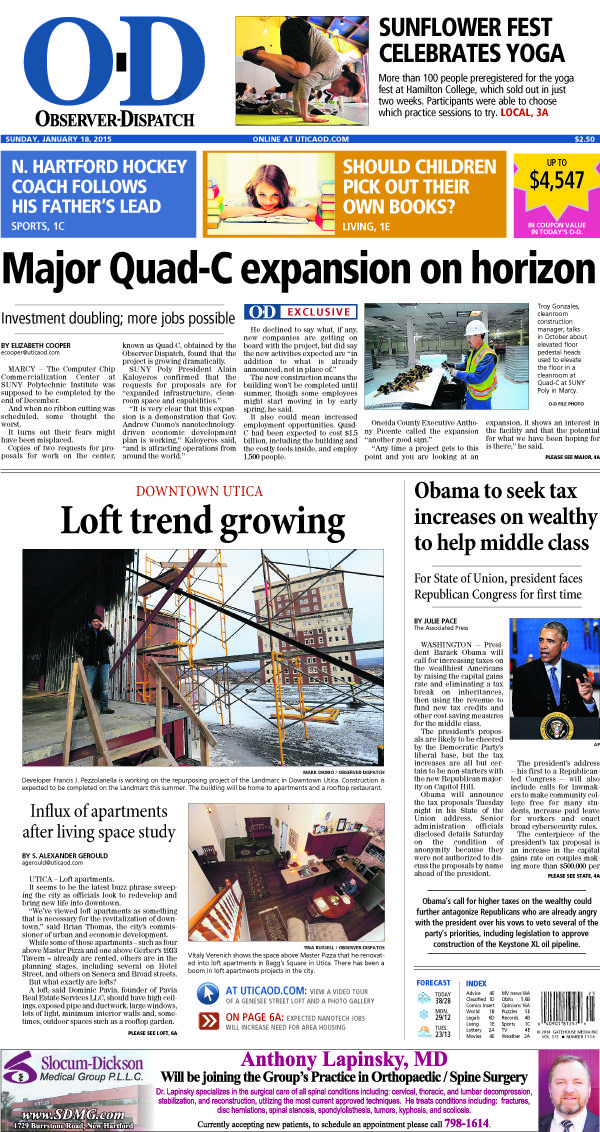 The front page for Sunday, Jan. 18, 2015: Major Quad-C expansion on horizon