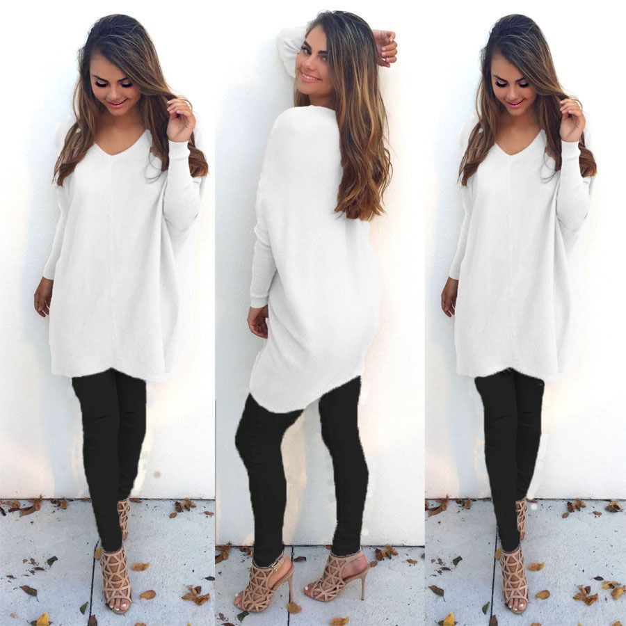 Fashion Womens Ladies V-Neck Chunky Warm Thick Sweater Knitted ...
