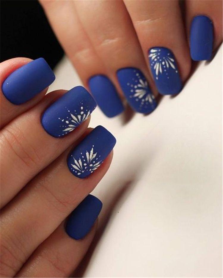40 Trendy 2019 Dark Blue Nail Art Designs Blue Nail Art Designs Blue Nail Art Floral Nails