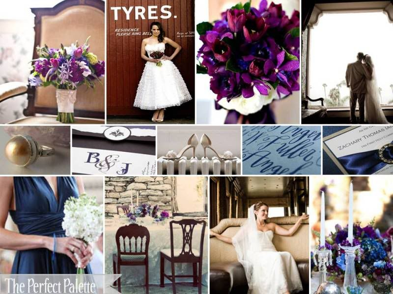 Wedding Color Palette An Enchanted Evening Chocolate Brown Plum Navy Blue Latte Ivory