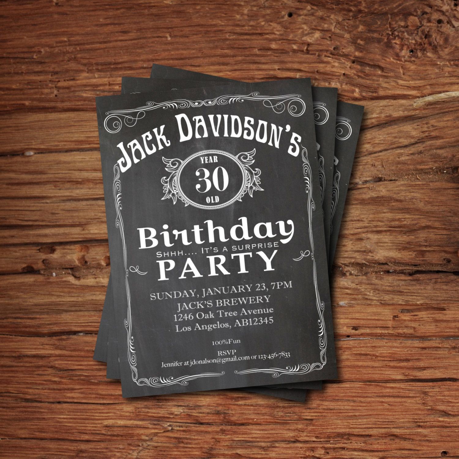 Printable whiskey label vintage chalkboard Adult Birthday Invitation ...