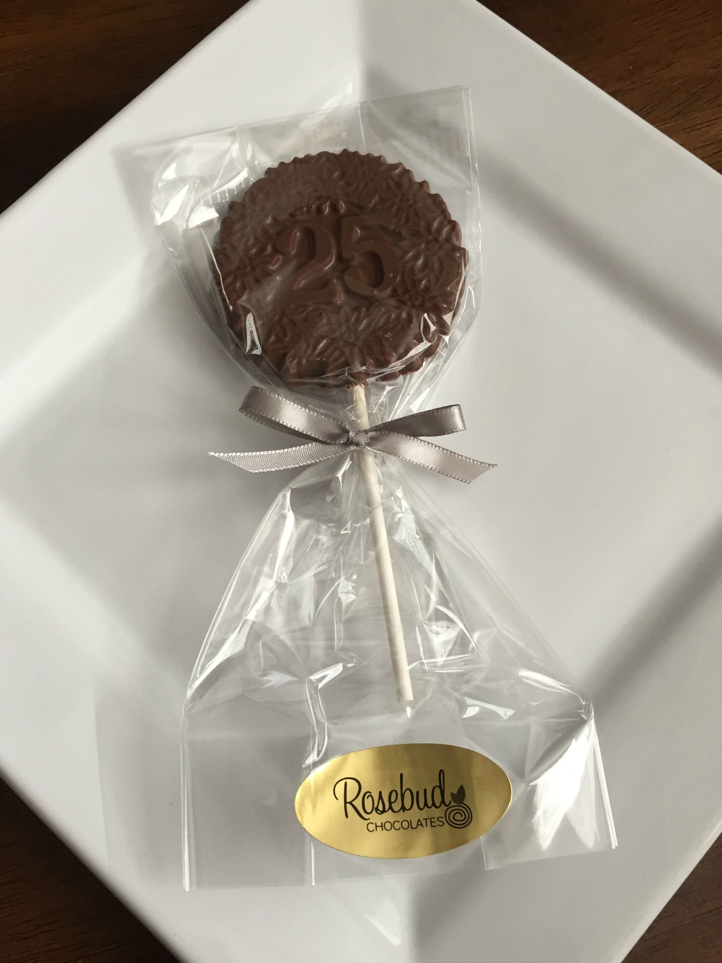 Milk Chocolate Decorative 25 Lollipop Favor 25th Wedding Anniversary Number Twenty Five