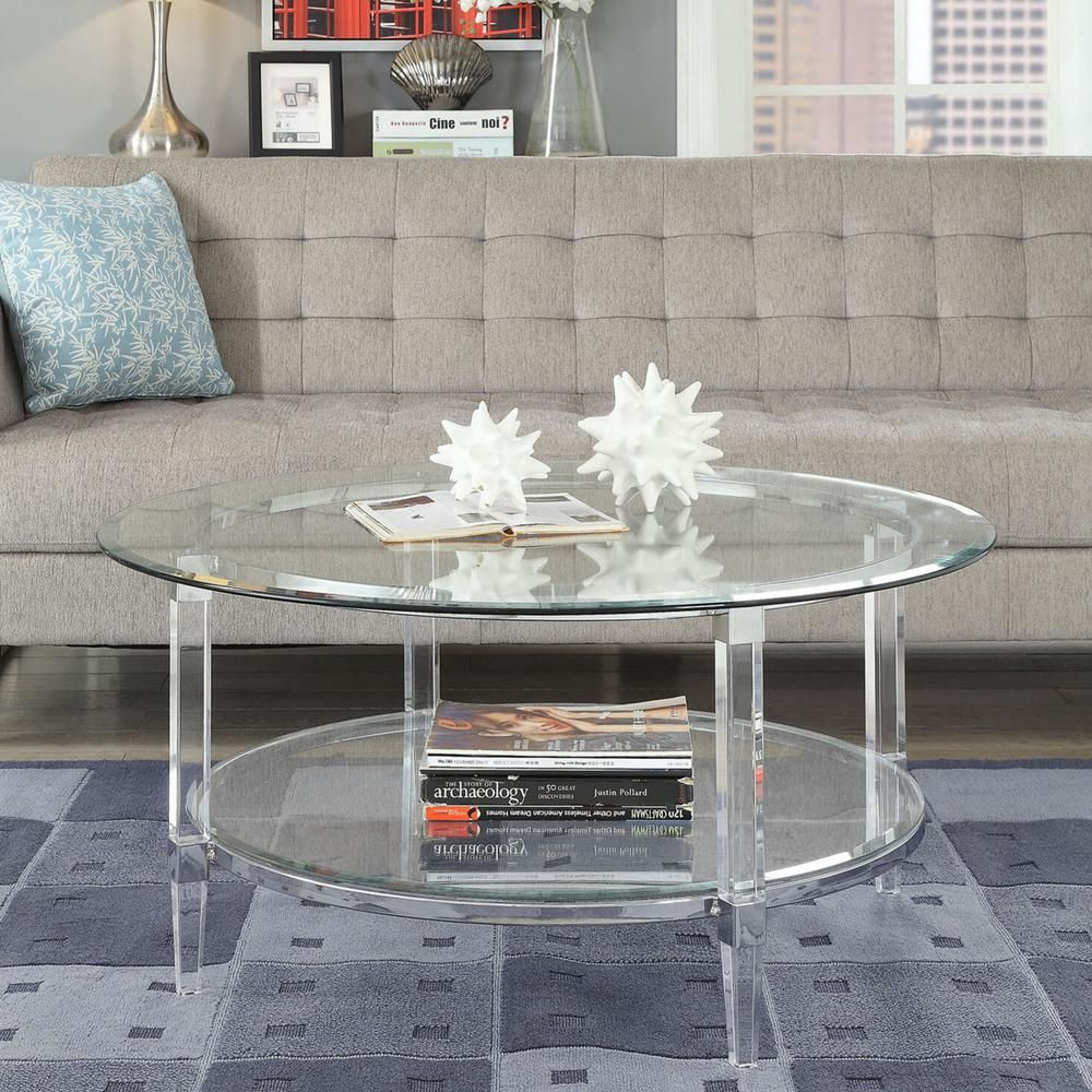 Venetian Worldwide Polyanthus Silver Chrome And Circular Glass Coffee Table Va 80945 The Home Depot Acrylic Coffee Table Glass Coffee Table Coffee Table [ 1000 x 1000 Pixel ]
