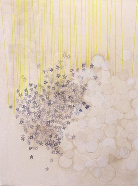 acrylic and coffee(!) on canvas by Misato Suzuki