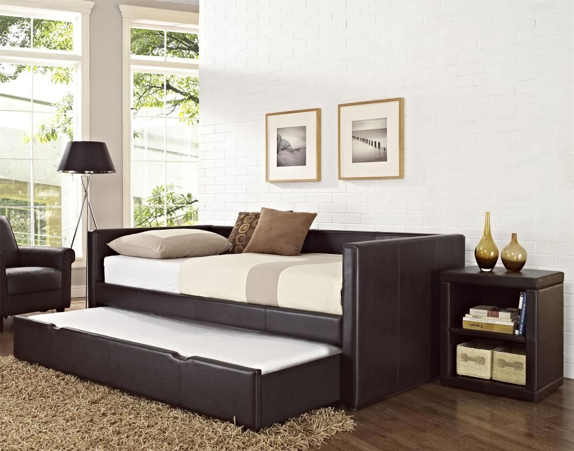 Modern daybed bedding - Daybed Set Awe Dark Brown Wooden As Furniture Wooden Daybeds Uk Framing With White Mattress Side