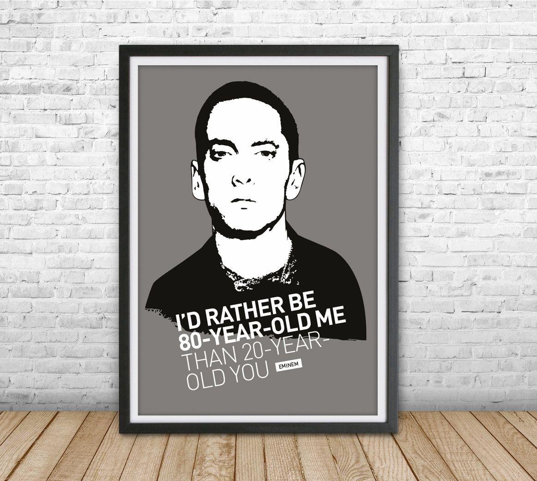 Eminem portrait. Eminem graphic quote. Black and white