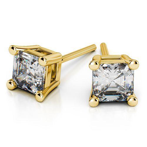 Asscher Diamond Stud Earrings in Yellow Gold (1 ctw) www.brilliance.com