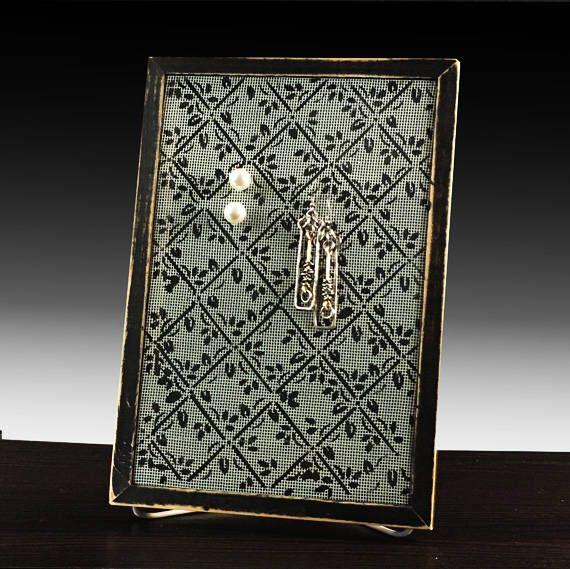 Shabby Chic Mesh Earring Holder For Pierced Earrings Hand Painted Organizer On Fibergl Screen Diamond Design
