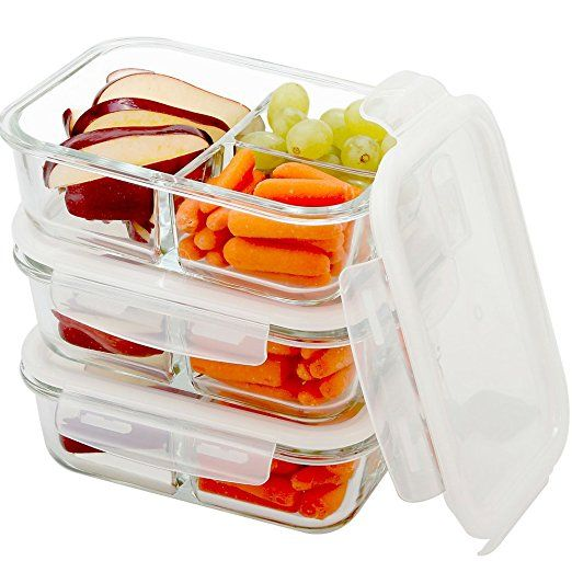 Glass Food Storage Meal Prep Containers 3 Compartments (  sc 1 st  Pinterest & 14.99 - 24 Hour SALE! Glass Food Storage Meal Prep Containers 3 ...