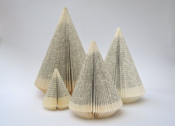 Christmas Tree With Wooden Trunk Folded Book Sculpture Altered Book Book Sculpture Book Folding Folded Book Art