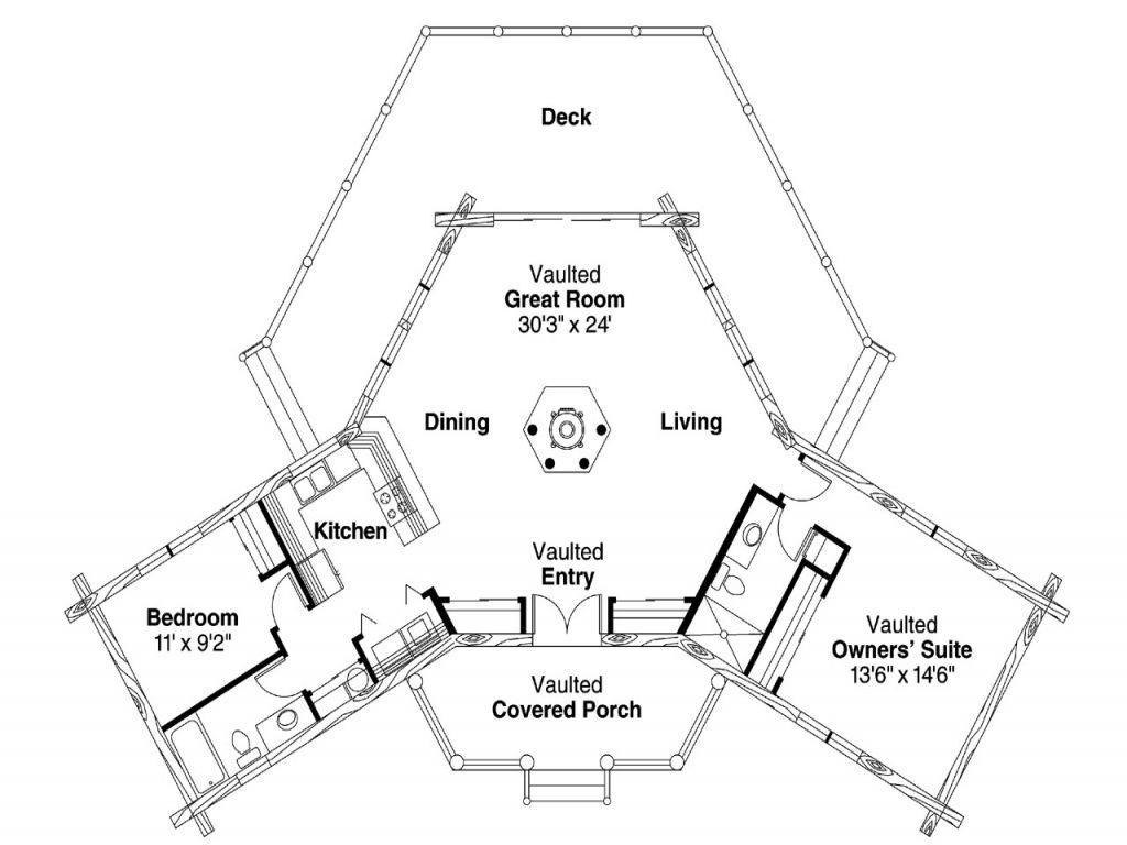 Coolest Hexagon House Plans 1jk2 Log Cabin House Plans Hexagon House House Plans