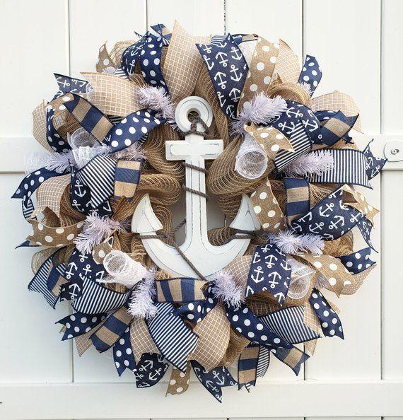 Photo of Nautical Wreath for Door, Anchor Wreath, Summer Wreath, Summer Burlap Wreath, Beach Wreath, Sailing Wreath, Nautical Wreath for Front Door