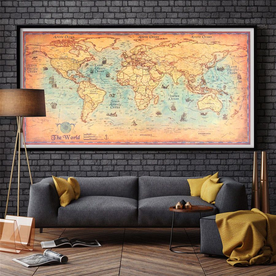BIG Ocean World Map Antique Vintage Poster Wall Home Decor 100 x 50 ...
