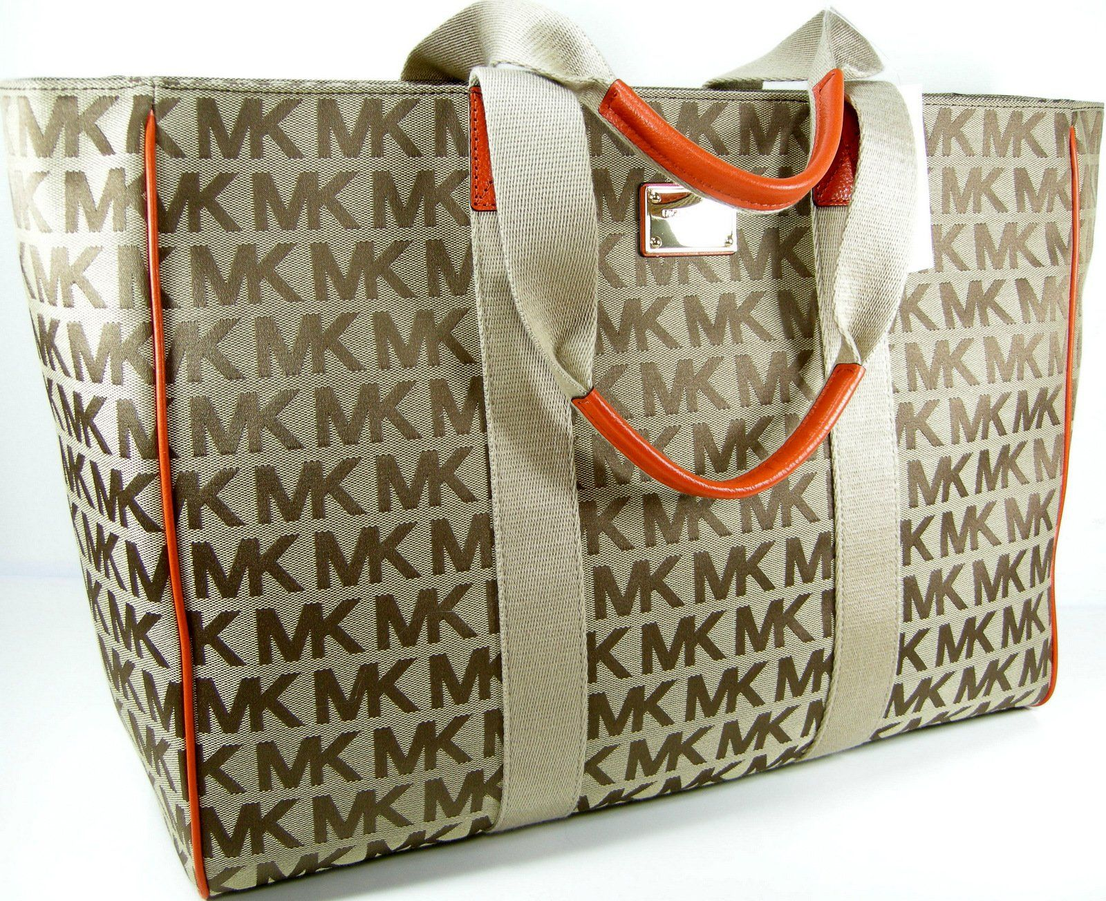 a08eaee46e359c Amazon.com: Michael Kors MK Logo Purse XL Tote Beige Tangerine Hand Bag  Luggage Laptop: Shoes