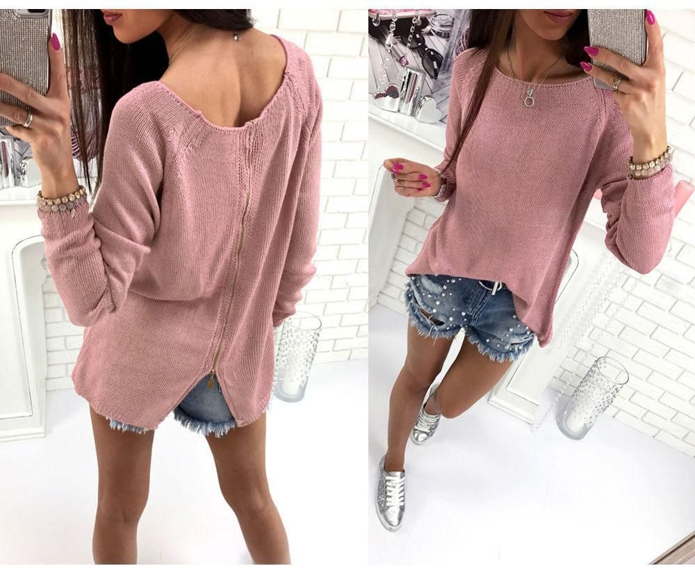 Back zipper sweater in products pinterest sweaters