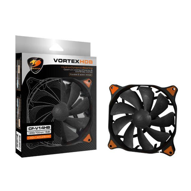 CFV14HB 300000 Hours 14CM Silent Cooling Fan NEW Fluid COUGAR CFV14HB // CF-V14HB Black Vortex Hydro-Dynamic-Bearing Retail